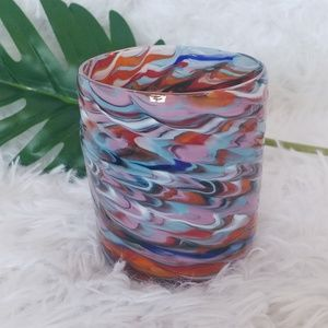 Hand Blown Swirl Glass Votive Candle Holder